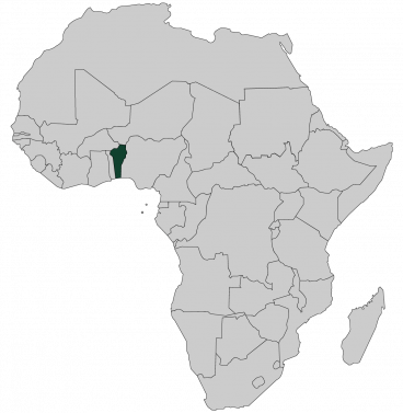 Continental map of Africa with countries outlined with highlighted Benin
