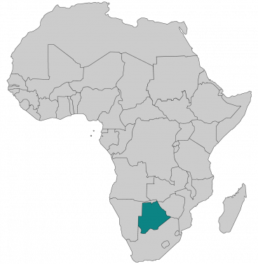 Continental map of Africa with countries outlined with highlighted Botswana