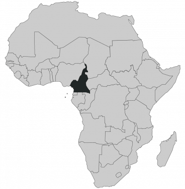 Continental map of Africa with countries outlined with highlighted Cameroon