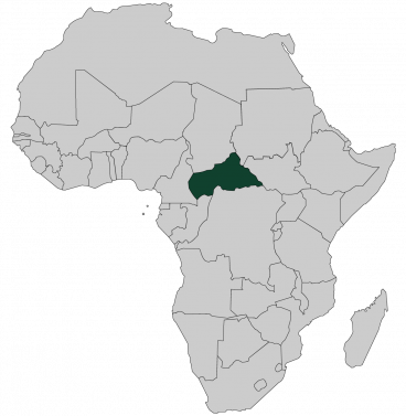 Continental map of Africa with countries outlined with highlighted Central African Republic