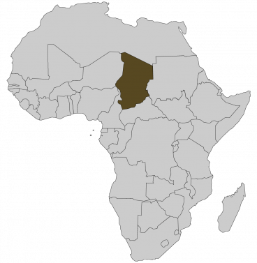 Continental map of Africa with countries outlined with highlighted Chad