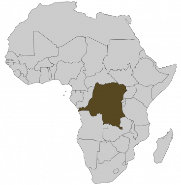 Continental map of Africa with countries outlined with highlighted Democratic Republic of Congo