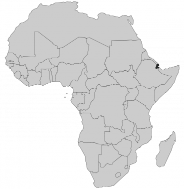 Continental map of Africa with countries outlined with highlighted Djibouti