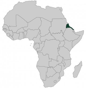 Continental map of Africa with countries outlined with highlighted Eritrea