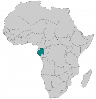 Continental map of Africa with countries outlined with highlighted Gabon