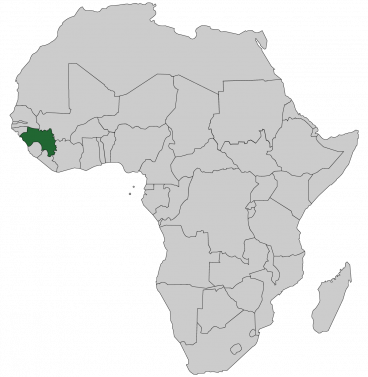 Continental map of Africa with countries outlined with highlighted Guinea