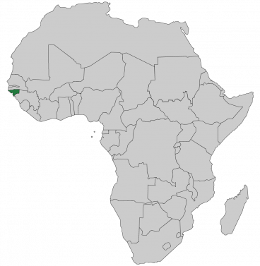 Continental map of Africa with countries outlined with highlighted Guinea-Bissau