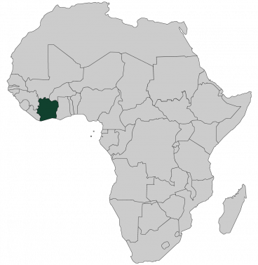 Continental map of Africa with countries outlined with highlighted Ivory Coast