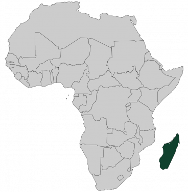 Continental map of Africa with countries outlined with highlighted Madagascar