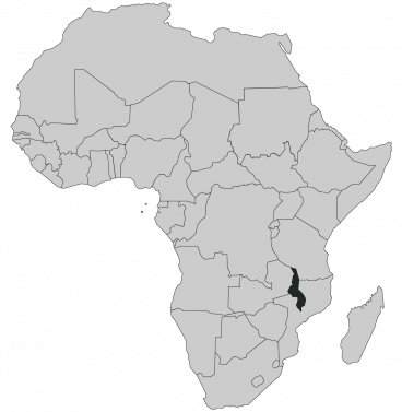 Continental map of Africa with countries outlined with highlighted Malawi