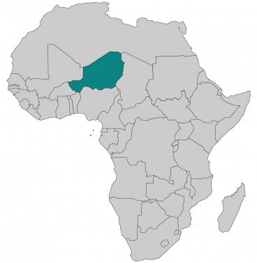 Continental map of Africa with countries outlined with highlighted Niger