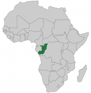 Continental map of Africa with countries outlined with highlighted Republic of the Congo