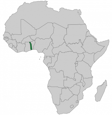 Continental map of Africa with countries outlined with highlighted Togo